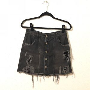 Free People • Distressed denim button down skirt